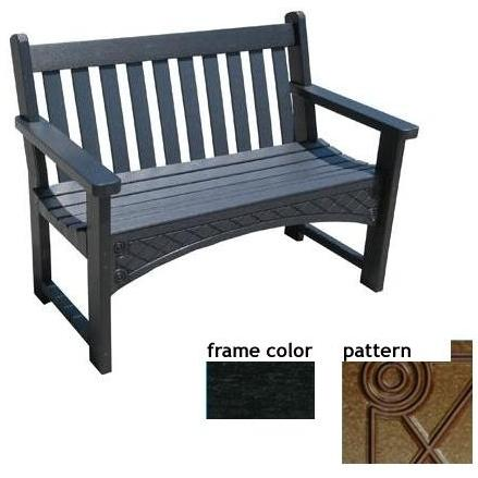 Eagle One Recycled Plastic 4 Foot Heritage Bench Diamond Pattern - Black
