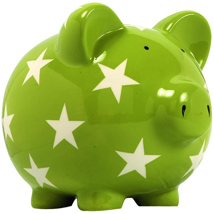 Elegant Baby Classic Piggy Bank - Green/White Star