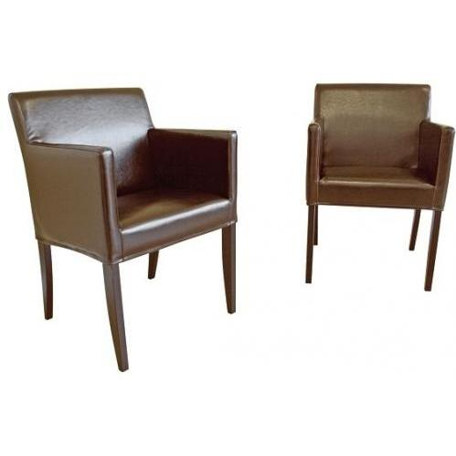 Shonn Dining Chair With Arm In Dark Brown.