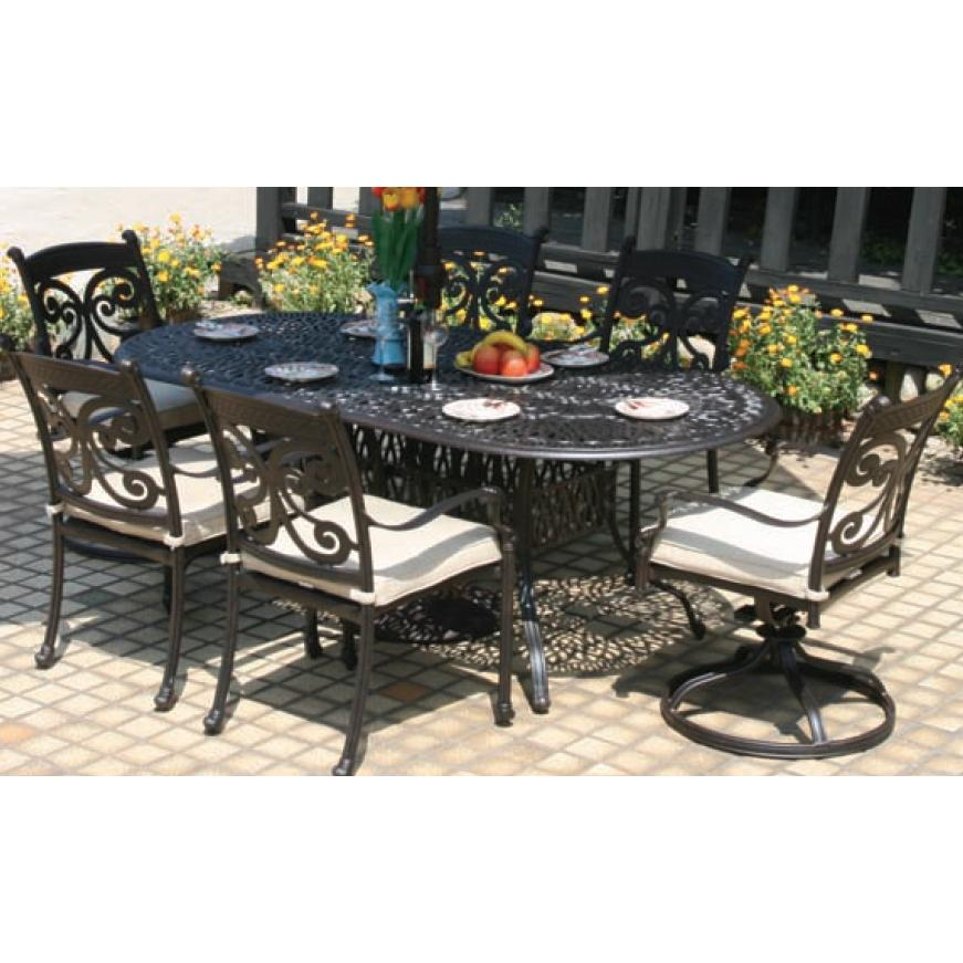 Alfresco Home Farfalla 84 Inch Oval Dining Set - Antique Wine