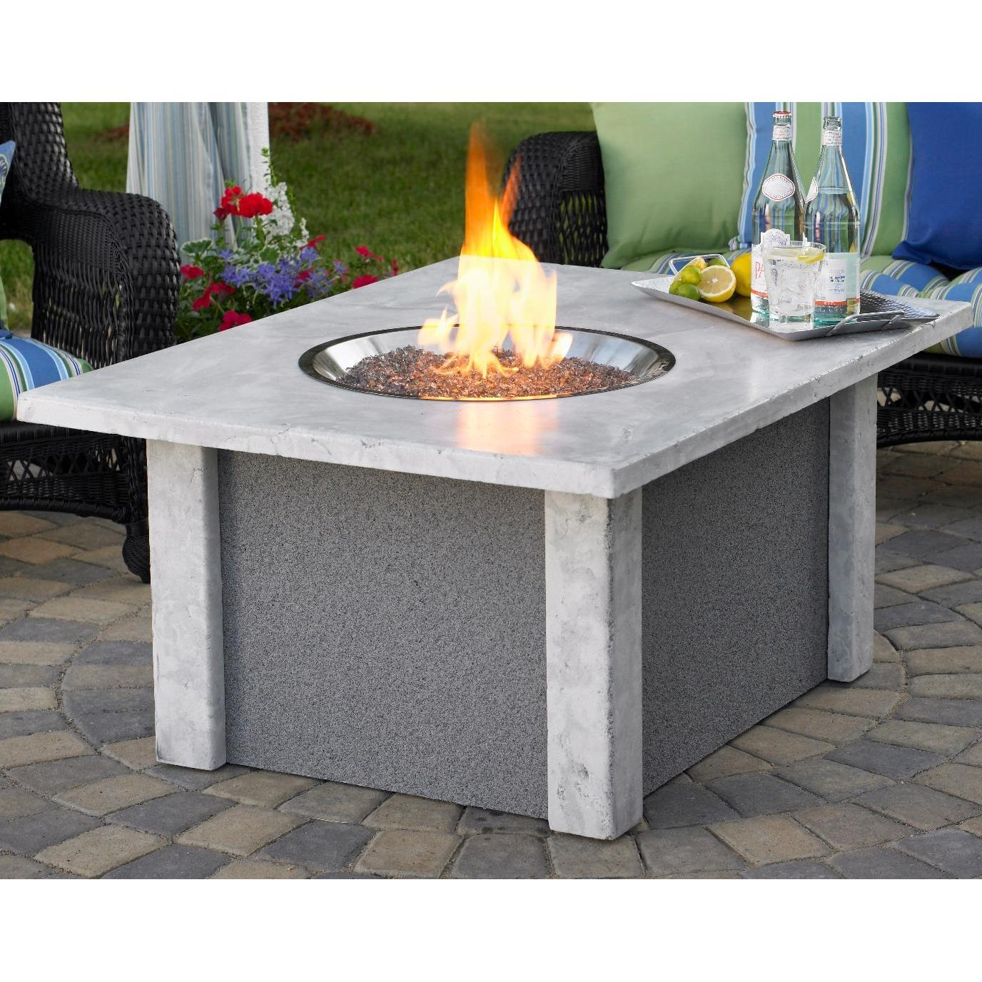 Outdoor GreatRoom Company San Juan 48 Inch Fire Pit Coffee Table In Ameristone Grey - Propane