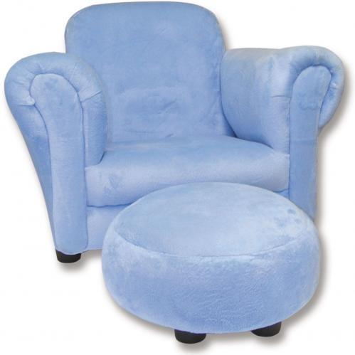 Trend Lab Childs Stuffed Chair And Ottoman - Blue Velour