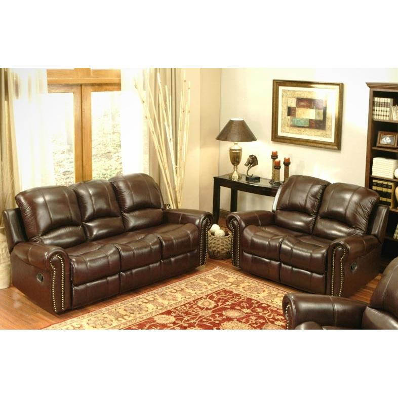 Picture of Abbyson Living Broadway Reclining Italian Leather Sofa And Loveseat Set - CH-8811-BRG-32