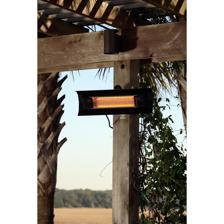 Fire Sense 1500 Watt Wall Mounted Electric Infrared Patio Heater - Black