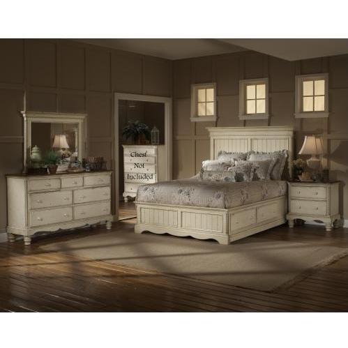 Hillsdale Wilshire Antique White 4 Piece Storage Platform Bedroom Set - Queen - 1172STGBQRSET4