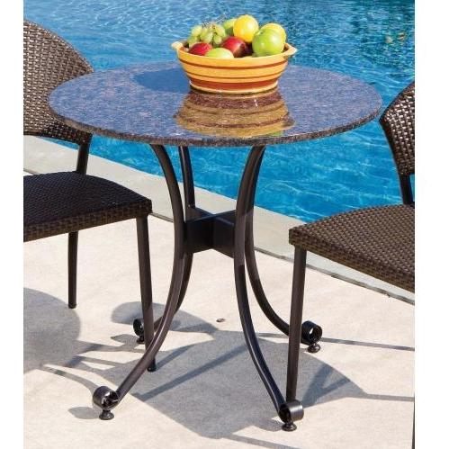 Alfresco Home Vento Outdoor Bistro Table With Granite Top - 30 Inch Round