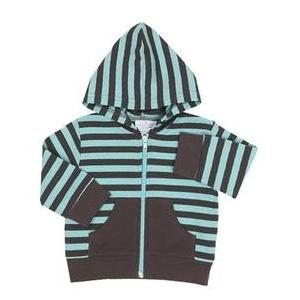 Elegant Baby Striped Hoodie Jacket 6 Months - Aqua Chocolate