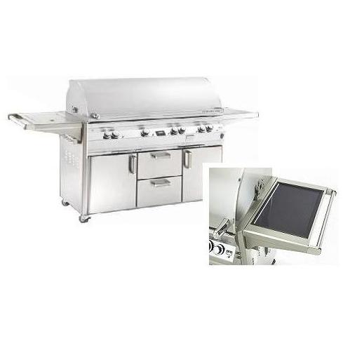 Fire Magic Gas Grills Echelon E1060s All Infrared Propane Gas Grill With Solar Panel, Single Side Burner & Power Hood On Cart