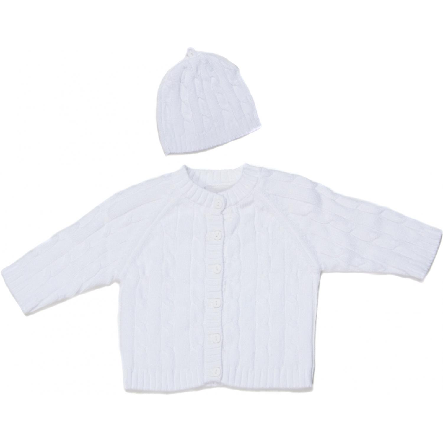 Elegant Baby Cable Knit Sweater Box Set 12 Months - White