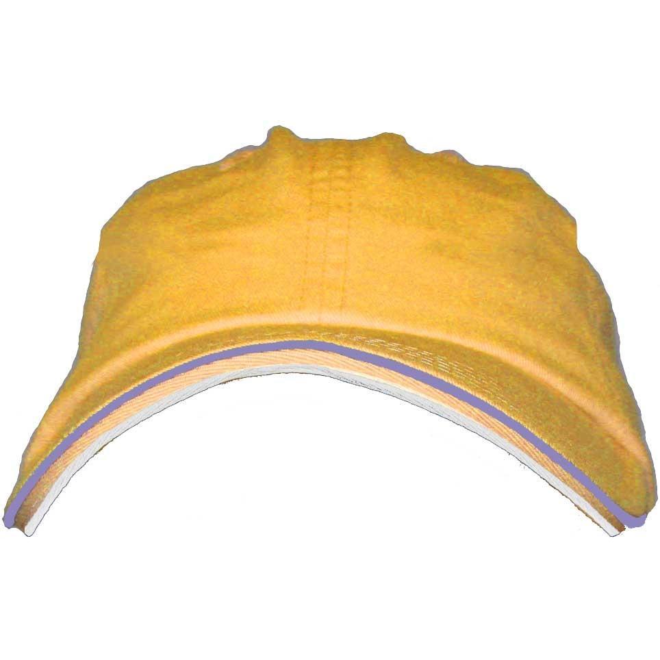 Port Authority Signature Double Piping Sandwich Bill Cap - Dandelion / Charcoal Blue / White, Discount ID C839-254343