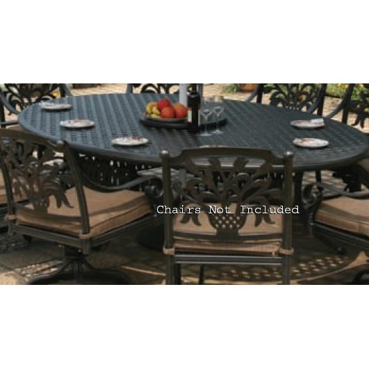 Alfresco Home Weave 100 Inch Oval Dining Table & Base With Umbrella Hole - Antique Fern
