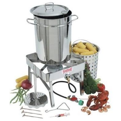 Bayou Classic 32 Quart Stainless Steel Turkey Deep Fryer Set With Stainless Gas Burner