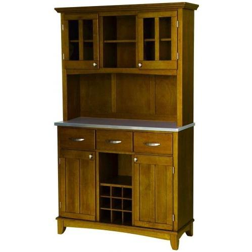 Home Styles Large Buffet Server & Hutch With Stainless Steel Top - Cottage Oak - 5100-0063-62