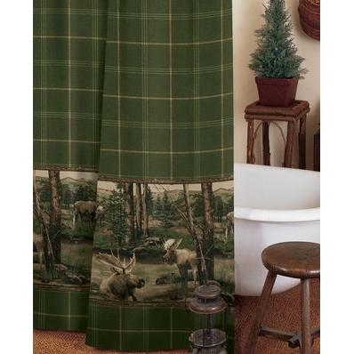 Blue Ridge Trading Moose Mountain Shower Curtain And Liner