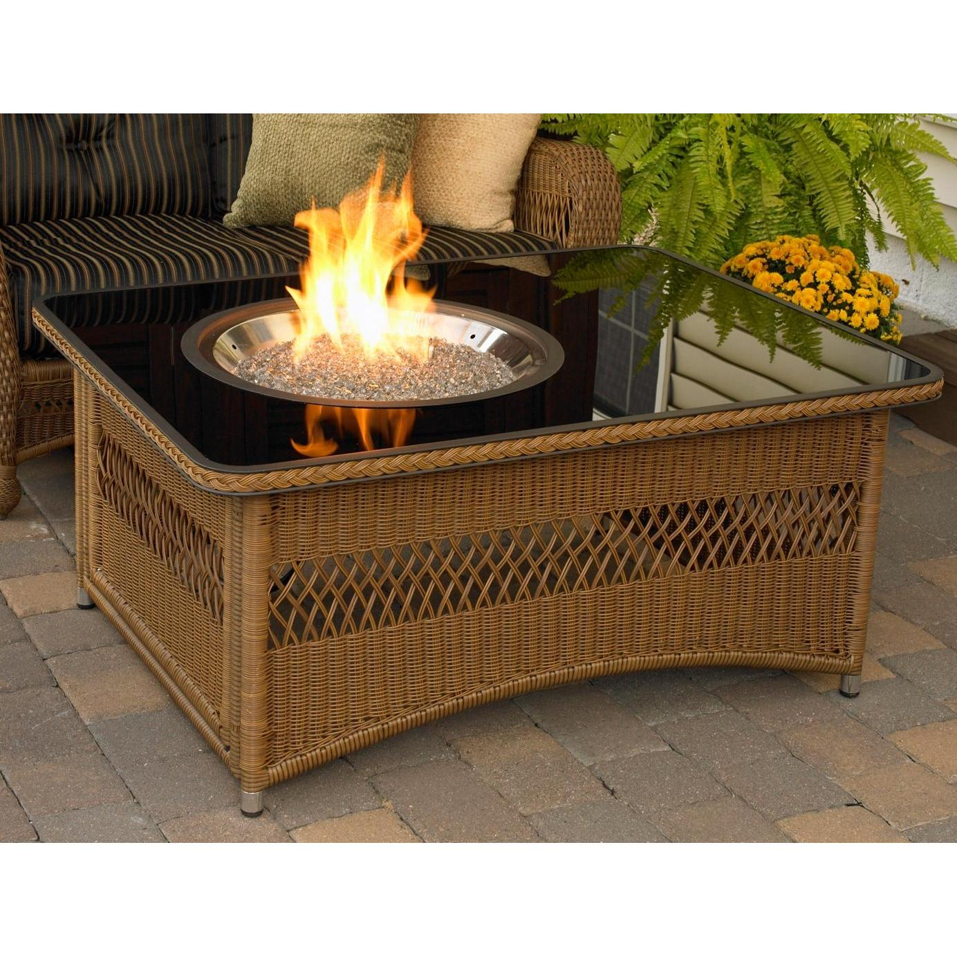 Outdoor GreatRoom Company Naples 48 Inch Fire Pit Coffee Table With Black Glass Top - Propane