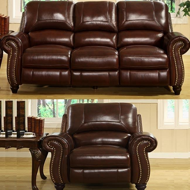 Picture of Abbyson Living Madison Leather Pushback Reclining Sofa And Chair Set - CH-8857-BRG-31