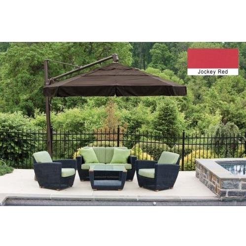 Treasure Garden Outdoor Cantilever Umbrella With Valance And Double Wind Vent, 11 Foot Ft - Jockey Red