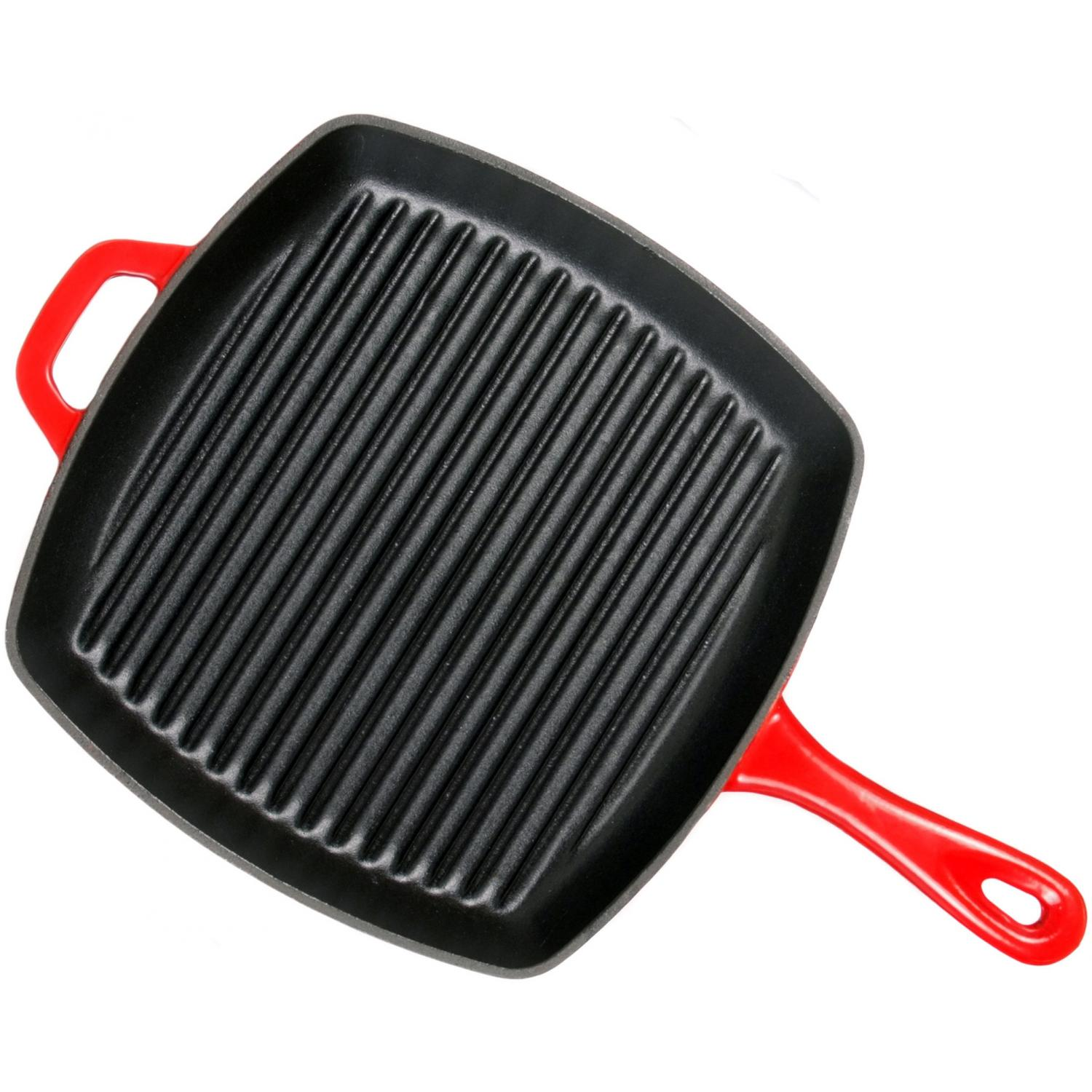 Lodge Pans Cast Iron Enamel Island Spice Grill Pan Red - ECSGP43