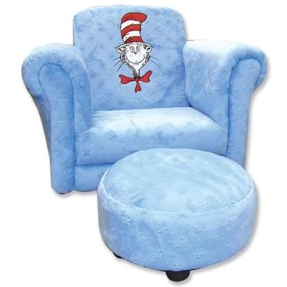 Trend Lab Childs Stuffed Chair And Ottoman - Dr Seuss Blue Velour