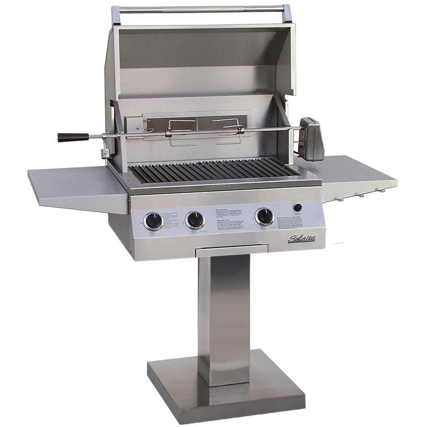 Solaire Gas Grills 27 Inch Deluxe InfraVection Propane Grill With One Infrared Burner And Rotisserie On Bolt Down Post 2703758