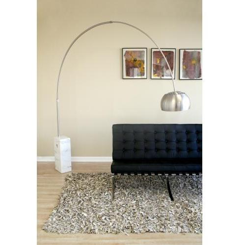 Sloan Round Marble Base Arched Floor Lamp In White