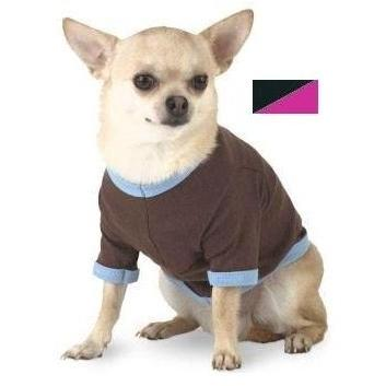 Doggie Skins Ringer T-Shirt Large - Black/Raspberry