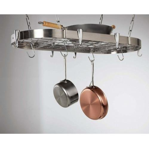 Concept Housewares CP40901 Stainless Steel Oval Kitchen Pot Rack