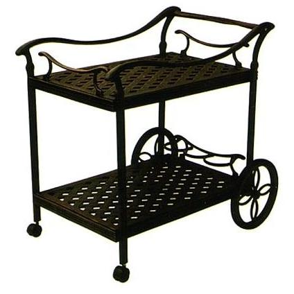 Good Darlee Cast Aluminum Outdoor Patio Serving Cart   Antique Bronze