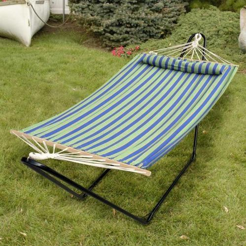 Bliss Hammocks Tequila Sunrise With Pillow - Green/Blue/Yellow Stripe