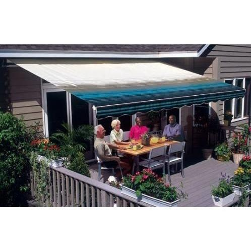 Sunsetter Pro Motorized Awning (11 Ft / Blue Stripe) With Traditional Laminated Fabric With Left Mounted Moter And Soffit Bracket
