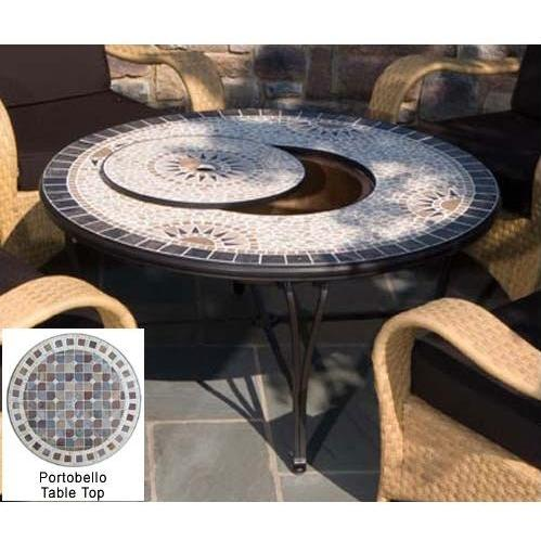 Alfresco Home Portobello Outdoor Lounge Table With Fire Pit And Beverage Center - 30 Inch Round