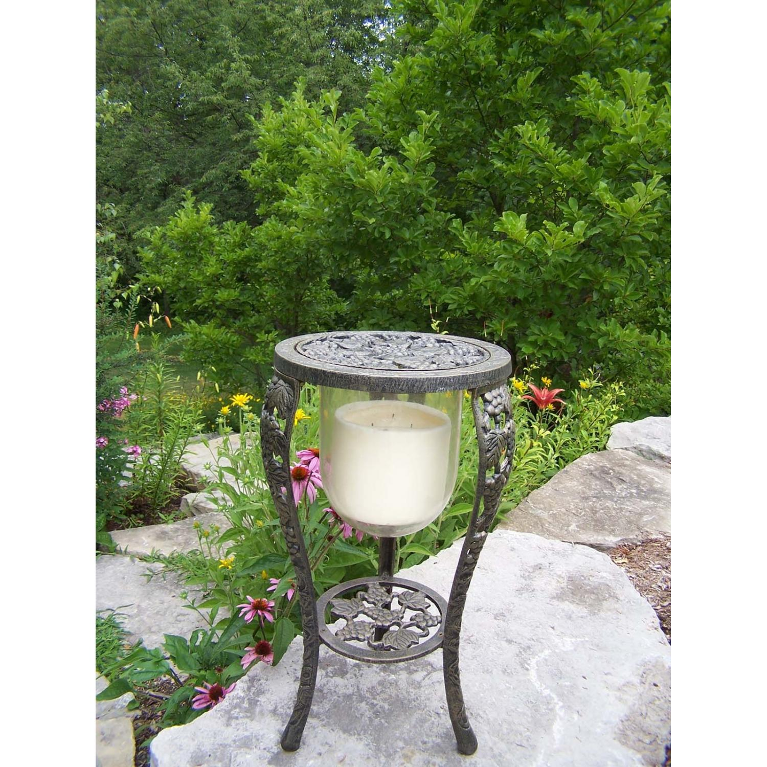 Oakland Living Vineyard Grape Candle Holder With Candle - Antique Bronze
