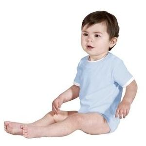 Precious Cargo Infant Short Sleeve Shoulder Snap Bodysuit 12m - Light Blue/white