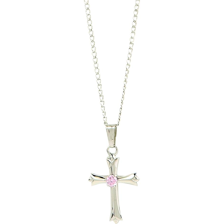 Elegant Baby Infant Sterling Silver Cross With Pink Cubic Zirconium Accent Necklace