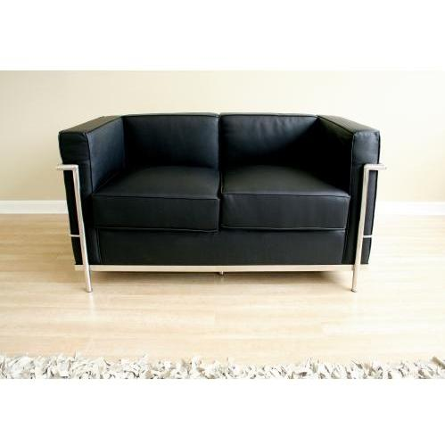 Sulyen Leather Steel Frame Loveseat In Black
