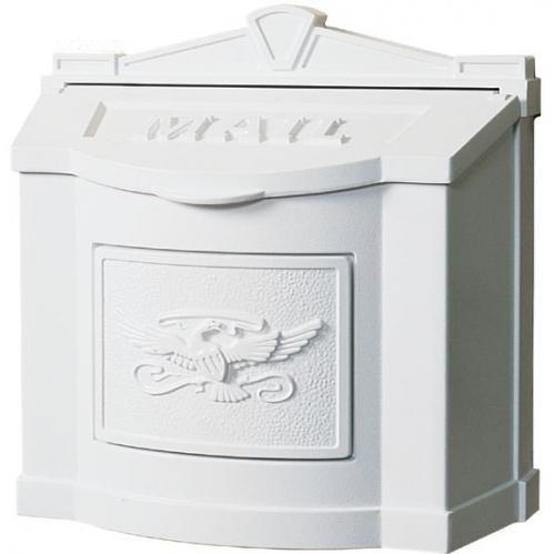 Wall Mount Series Mailbox W/ Eagle Accent - All White