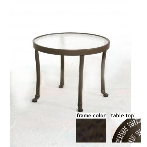 Barcelona 24 Inch Aluminum Round Occasional Table - Aluminum Partial Pattern With Terra Frame