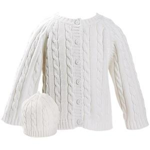 Elegant Baby Cable Knit Sweater And Hanger Set 12 Months - White