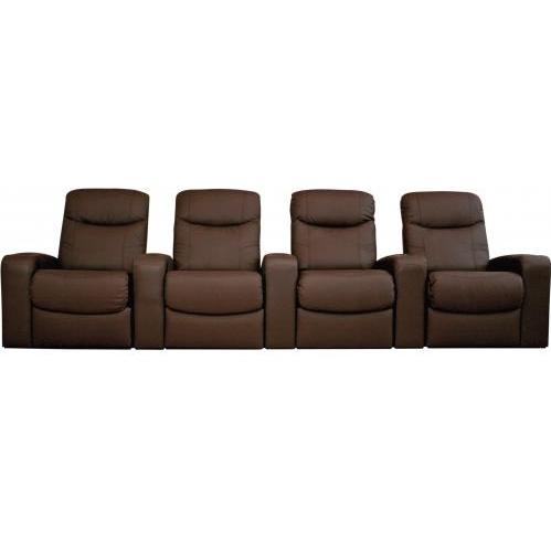 Talyessin Leather Home Theater Recliner Set Of Four InBrown