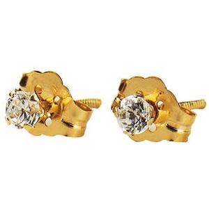 Elegant Baby Infant Cubic Zirconium Gold Stud Earrings