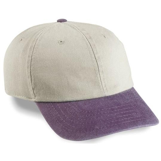 Cobra Caps Pigment Dyed Washed Cotton Twill Cap - Stone / Purple, Discount ID PSWT-R-1010
