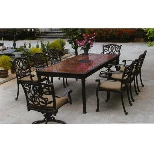 Darlee Santa Monica Granite Top Cast Aluminum Patio Dining Set With Cushions - 90 Inch Rectangular