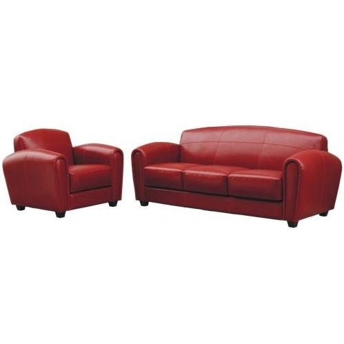 Sinclair Leather 3-pcs Sofa Set In Exotic Red