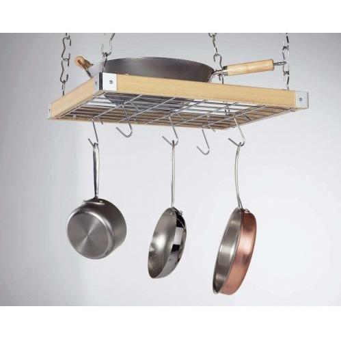 Concept Housewares CP40293 Natural Wood Square Ceiling Kitchen Rack