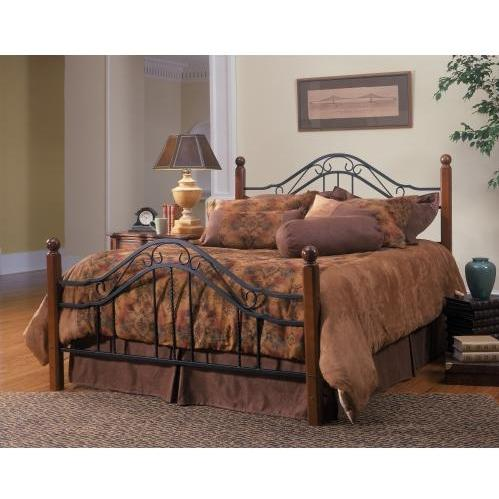 Hillsdale Madison Textured Black And Cherry Metal And Wood Post Bed Set With Frame - Queen - 1010BQR