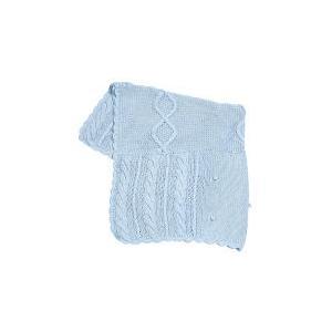 Elegant Baby Fisherman Cable Knit Baby Blanket - Pastel Blue