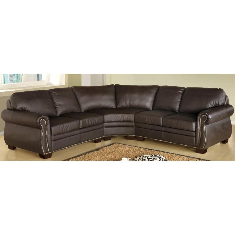 Abbyson Living Pearce Premium Italian Leather Sectional Sofa - CI-D200-BRN-SEC