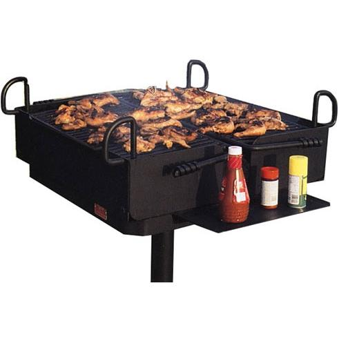 BBQ Guys Campground BBQ Charcoal Grill On Post - D2-48 B2