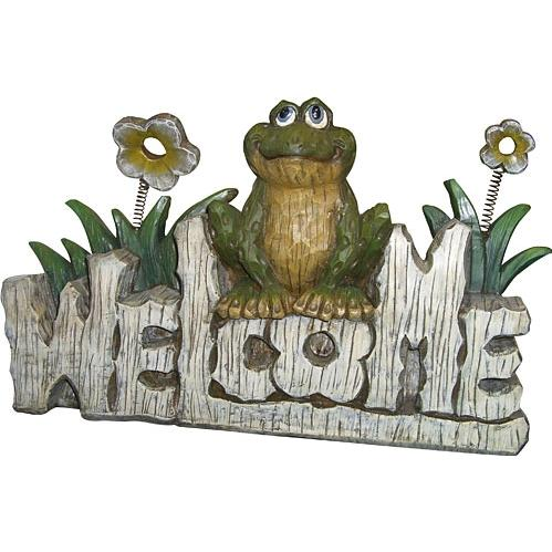 Alpine Frog Welcome Sign Statuary