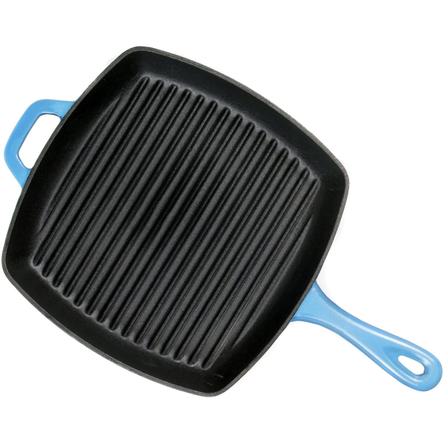 Lodge Pans Caribbean Cast Iron Enamel Grill Pan, Gradated Blue - ECSGP33